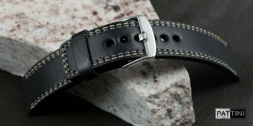 black watch strap with double stitching