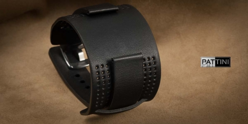 black wide watch strap with pad