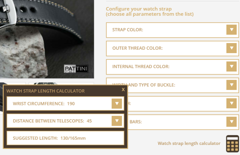 watch strap configurator and calculator