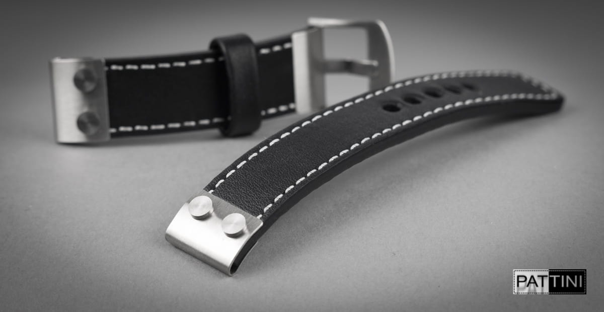 black watch strap with rivets