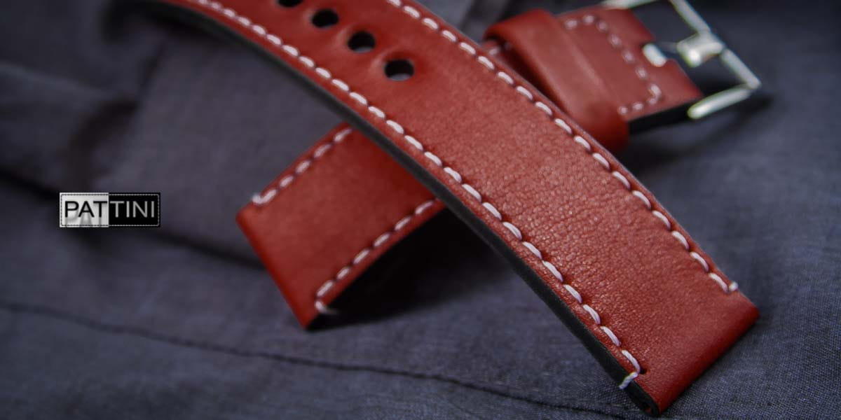 watch strap red with white stitching
